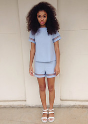 Ebony Boadu - Asos Box Shirt With Sheer Cut Out Panels, Asos Shorts With Sheer Cut Out Panels, Betts Shoes White Sandals - Co-ords