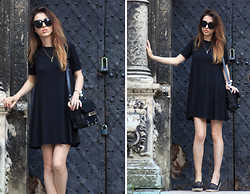 Lena Juice - Zara Dress, Sam Edelman Espadrilles, Proenza Schouler Bag, Céline Sunglasses - Black dress