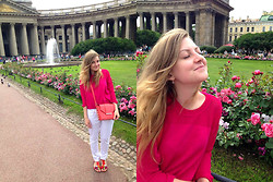Aleksandra B. - Topshop Crimson Blouse, Miss Selfridge Peach Bag, Kira Plastinina White Pants - KAZAN CATHEDRAL