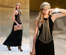 Dora D. - 6ks Black Maxi Party Dress, Louis Vuitton Scarf, As Turban - TAKE ME ON A SAFARI
