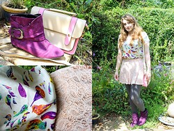 Cordelia S - Pink And Beige Satchel, Bird Print Shirt, Lace Peach Pattern Skirt, Purple Buckle Detail Ankle Boots - Look #35 - When Kissing Flowers, Tulips Are Better Than One