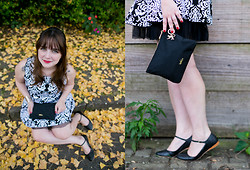 Melina Souza - Sheinside Dress, Tutu Flat, Kipling Bag - Black (and a bit of white)