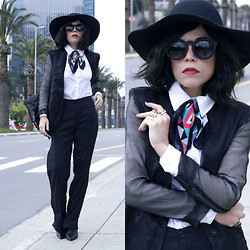 Priscila Diniz - Silk Blazer With Contrast Sleeves, Sheer Pants, Scarf, Sunglasses, Floppy Hat   Exclusive Model - Dare to be unique