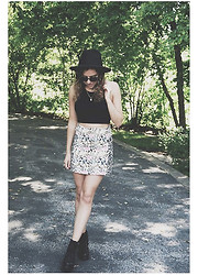 Chloe Parr - Brandy Melville Usa Halter Tie Top, Topshop Skirt, Topshop Booties, Free People Fedora - Keepin' It Cool
