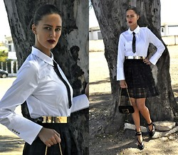 Amina Allam - Frontrowshop Long Sleeve Shirt, H&M Sequin Tie, Melany Brown London Metallic Belt, Romwe Plaid Mesh Skirt, Fendi Velvet Clutch, Fendi Lace Pumps - Chic in white shirt & black skirt