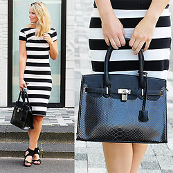 Marlou Volkerink - Follow Fashion Striped Dress, Giuliano Snake Kelly Bag - Striped Dress