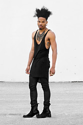 Marcus Branch - Oak Side Cowl Tank, Kill City Wax Denim, The Damned Areas Man - Cultivate.