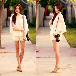 Amelia Jin - Forever 21 Lace Tunic, Chic Wish Lace Shorts, Steve Madden Glitter Heels, Camerasbagstraps Braided Camera Strap - Seventeen