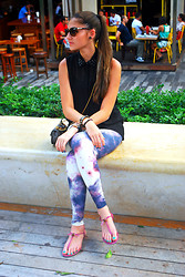 Stephany M - Versace Sunglasses, Zara Shirt, Gucci Bag, Topshop Leggings, Gucci Sandals - Downtown Beirut