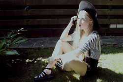 Lilian A - Thrift Store Hat, Black Suspenders, H&M Black Embroidered Shorts, H&M Black Sandals - Long away - 2011 remaster