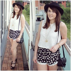 Gabby P. - Ark Clothing Daisy Lace Trim Shorts, Ark Clothing White Lazer Cut Top, Accessorize Daisy Necklace, Missguided Black Bag, Topshop Fedora Hat, New Look Black Strappy Heels - Daisy, Daisy, Give me your answer do!