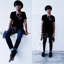 Haha Hariz - Bowler Hat, Cotton On Tortoiseshell Clubmasters, H&M Silver Chain Necklace, Topman Vintage Denim Jeans, Uniqlo Plaid Flannel, Messy Black Wingtips - Salty