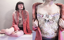 Raissa Palacios - Fur Collar Pink Coat, Thrifted Flower Design Bustier, Fendi Transparent Lavender Glasses - Bloom