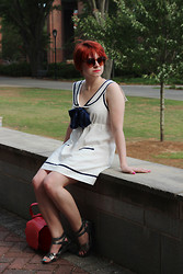 Jamie Rose - Forever 21 White Sailor Dress, Solanze Silver Sandals, Pepaloves Red Scalloped Purse, Tortoiseshell Sunglasses - Sailor Dress