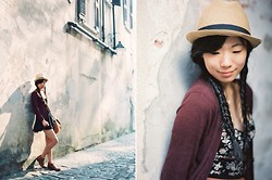 Serena J - Urban Outfitters Fedora, Kimchi Blue Floral Romper, Divided Maroon Cardigan, Ona The Palma, Steve Madden Leather Boots - Charleston in Golden Light