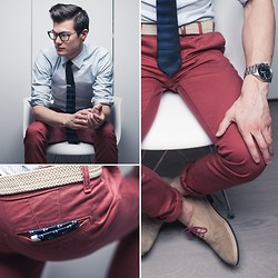 Chris Nicholas - Indochino Shirt, Cole Haan Suede Shoes, Topman Chinos - Eiffel Chair