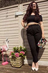 Olivia Lynn - Topshop Off The Shoulder Top, Asos High Waist Tailored Pants, Topshop Floral Clutch, H&M White Pointed Courts - Black Bardot
