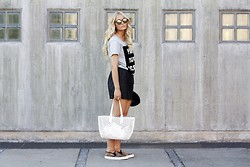 Marie Wolla - Le Specs Sunnies, Just Female T Shirt, Just Female Leather Skirt, Zara Bag, Selected Femme Leo Shoes - Concrete