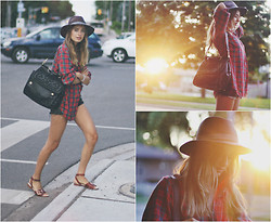 Sonya Esman - Dolce & Gabbana Miss Sicily, Zara Buckle Sandals, Vintage Plaid Shirt, Worth & Hat, Levi's® Levi's Denim Shorts - There goes the sun.