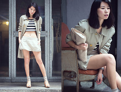Twee Wu - Burberry Trench Coat, Topshop Skirt, Funkis Clog - 60s Hong Kong