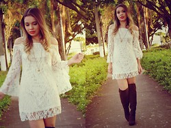 Priscila Figueredo - Aliexpress Lace Dress, Boots Over The Knee - Give me hope in silence;