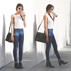 Amelyn B - River Island Heart Sunnies, Warehouse Crochet Top, Abercrombie & Fitch High Rise Jeans, Kate Spade Bag, Franco Sarto Boots - DENIM AFFAIR