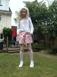 Laura King - Instyle Knitted Beaded Jumper, Fade Out Pale Pink Shorts, Ebay Lace Socks, Nike Air Force 1's - Charity Outfit