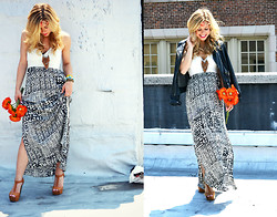 Katie Miller - For Elyse Maxi Dress, Neccessary Clothing Shoes, H&M Floral Headpiece, Zara Leather Jacket - Take it to the Maxi