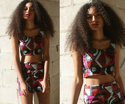 Ebony Boadu - Handmade African Printed Wax Cotton   Crop Top, Handmade African Print Wax Cotton   Mini Skirt - Blue