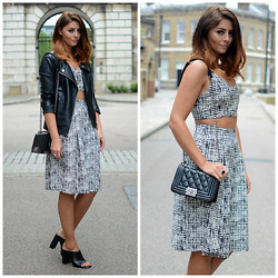 Emma Hill - In The Style Skirt, In The Style Bralet Crop Top, Chanel Boy Bag, Zara Leather Mules, Forever 21 Biker Jacket - Mono-Matchy