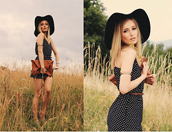 Chloe From The Woods - Zara Dotted Dress, Bershka Brown Faux Leather Messenger Bag, H&M Black Fedora Hat - Chloe from the woods 140715