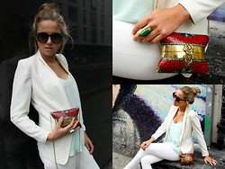 Lovisa - Free People Sunglasses, Zara White Blazer, Urbiana Large Handcrafted Mosaic Styled Bag, Urbiana Golden Ring With Split Stone, Zara White Ripped Jeans - Mosaic