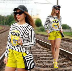 Iren P. - Reserved Pu Leather Baseball Cap, Abaday Striped Sweatshirt With Minion, Love Republic Neon Yellow High Waisted Shorts, Harajuku Lovers Jelly Yellow Neon Sandals, Diy Striped Black And White Bag, Asos Wing Sunglasses - I LOVE YOU, MINION
