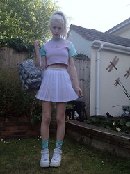 Laura King - Somewhere Nowhere Pastel Fleece Sample Crop Tee, Slazenger Vintage Tennis Skirt, Ebay Blow Up Pvc Backpack, Nike Air Force 1's - Pastel Princess