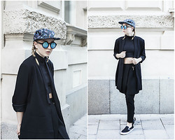 Bea Hansson - Weekday Jacket, Frontrowshop Pants, Monki Cap, & Other Stories Eyewear, Vans Shoes - ON THE RUN