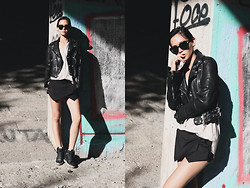 Miu N - Burberry Jacket, Zara Shorts, Acne Studios Shirt, Nike Shoes, Komono Sunglasses - Set For Life