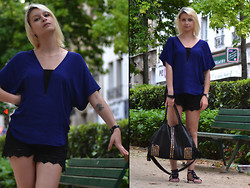 Joanna P. - Zara Blue Top, Undiz Lace Short, Vj Style Black Bag, Primark Flats - Blue night