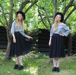 Noora V - H&M Skirt, Underground Creepers, Jc Top, Hat - Sing me to sleep