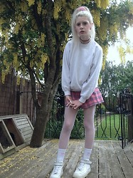 Laura King - Ebay Pink Velvet Scrunchie, Ebay White Jumper, Glitters For Dinner Pink As If Skirt, Slazenger Pink Socks, Nike Air Force 1's - Pink n White