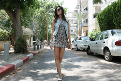 Sahar Lazari - H&M Denim Jacket, H&M Cat Dress, Forever 21 Slipons, Thailand Wing Sunglasses - The Cat Dress