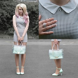 Sammi Jackson - Sammydress Coords, Trax Nyc Hamsa Necklace, Trax Nyc Wing Ring, Furla Candy Bag, Sammydress Mint Heels - MINT + MONOCHROME