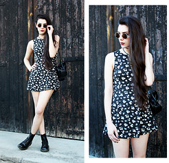 CLAUDIA Holynights - 6ks Floral Print Mini Dress, Dr. Martens Boots - What Difference Does It Make?