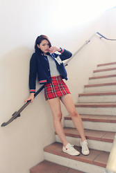 Phuong Ngo - Topshop Tartan Skirt, Topshop Grey Crop Top, Snidel Varsity Jacket, Comme Des Garçons Sneakers - If you could, would you turn back time?