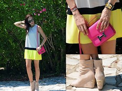 Katia Peneva - Tom Ford Sunglasses, Hermës Bracelet, Hermës Bag, Chanel Shoes, Pinko Dress - Neon on Neon