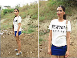 Pooja Mittal - Romwe New York City T Shirt, Color Block Stripes Canvas Espadrilles - New York City Story