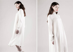 SILENCE AND IVORY - Silence&Ivory Pearl White Midi Shirt Dress - City Of Angels
