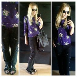 Gabriella B - Topshop Dark Floral Shell Top, Mango Pinstripe Buckle Trousers, River Island Black Patent Leather Sliders - Gotta take the hint