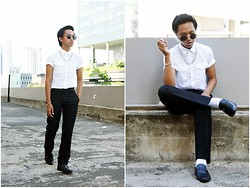 Afifi Zaidin - Shopunk Lennon Sunnies, Asos Silver Chain Necklace, H&M White Button Up Shirt, H&M Silver Chain Bracelet, Tailored Smart Pants, Obermain Smart Shoes - Classic Chic