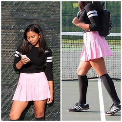 Macailah Maxwell - Forever 21 Varsity Shirt, Pink Tennis Skirt, Forever 21 Leather Backpack, American Apparel Black Knee Highs, Adidas Samba Classic Shoes - Tennis Court