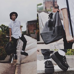 El-John Zian - Forever 21 Hat, The Ramp White Bow Tie, Topman White Polo, Zara Black Pants, Monster Beats Creepers - Nothing beats classic Black and White!""